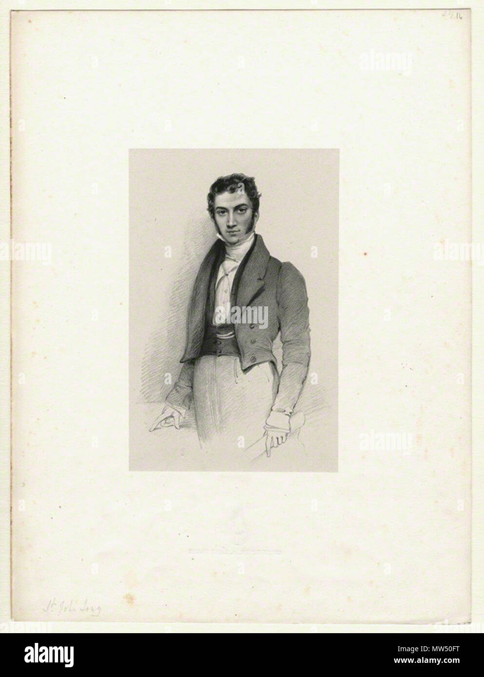 . English: Lithograph by Richard James Lane, circa 1825–1834. 1825. Richard James Lane, died 1872 572 St.-John-Long-portrait-by-Lane - Stock Image