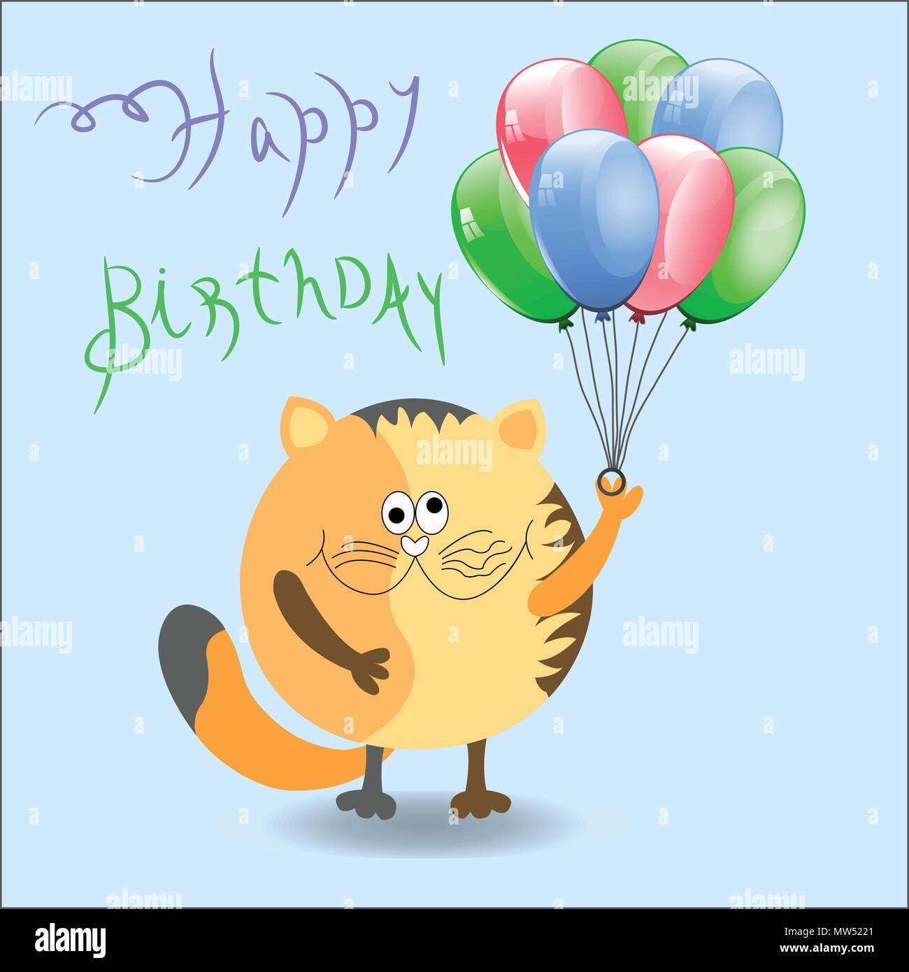 Birthday Greeting Card Cat With Air Balloons Vector Illustration
