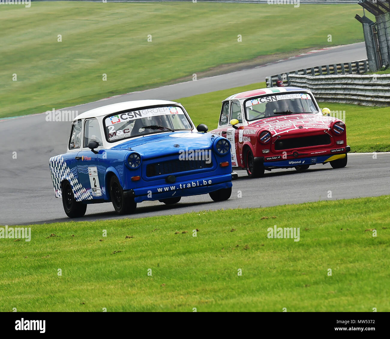 Battling Trabbies, 600cc of pure 2 stroke power, Bart Lemaire, Trabant 601 RS, Albert Westerhuis, Trabant 601 RS, CSN Groep, Youngtimer Touring Car Ch - Stock Image