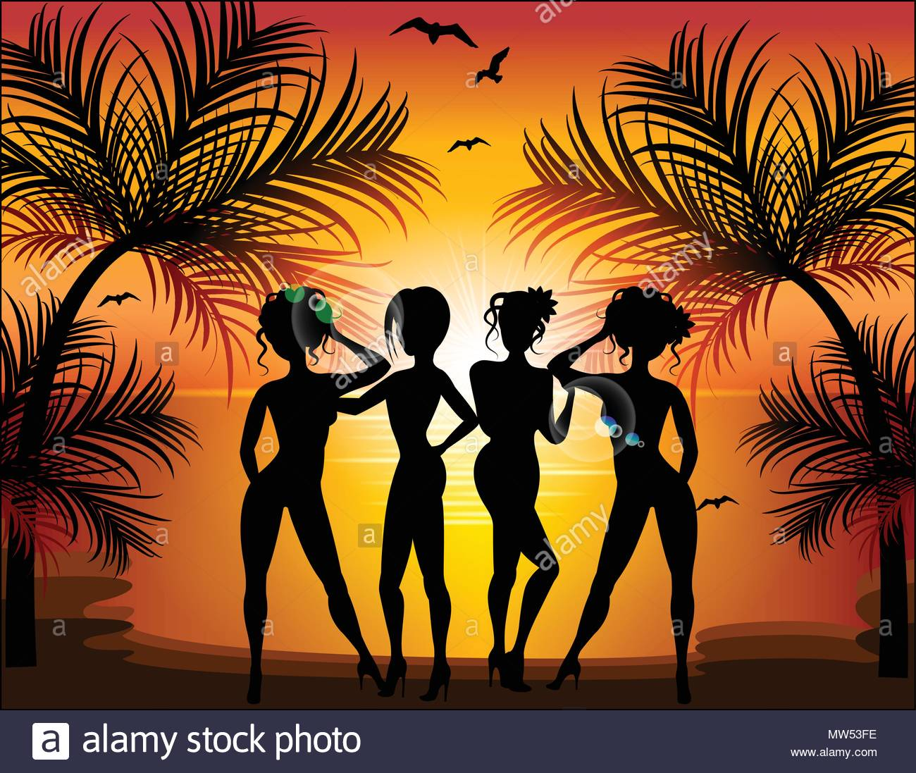 Silhouette of beautiful girls on the background of a tropical la - Stock Vector