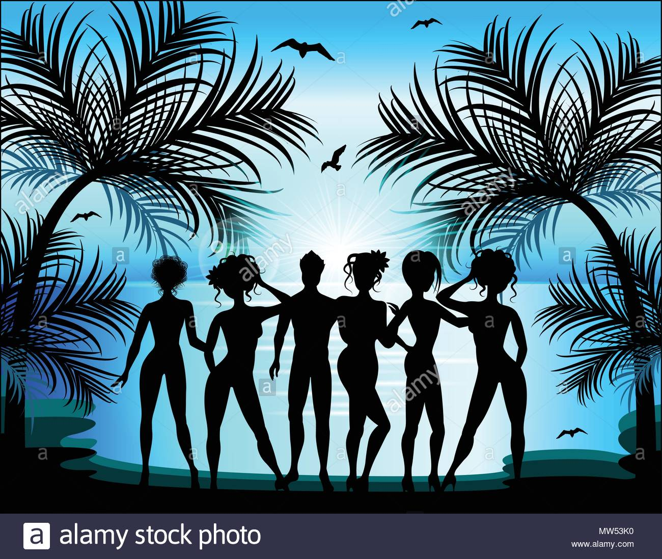 Silhouette of young girls and boys on the background of a tropic - Stock Vector