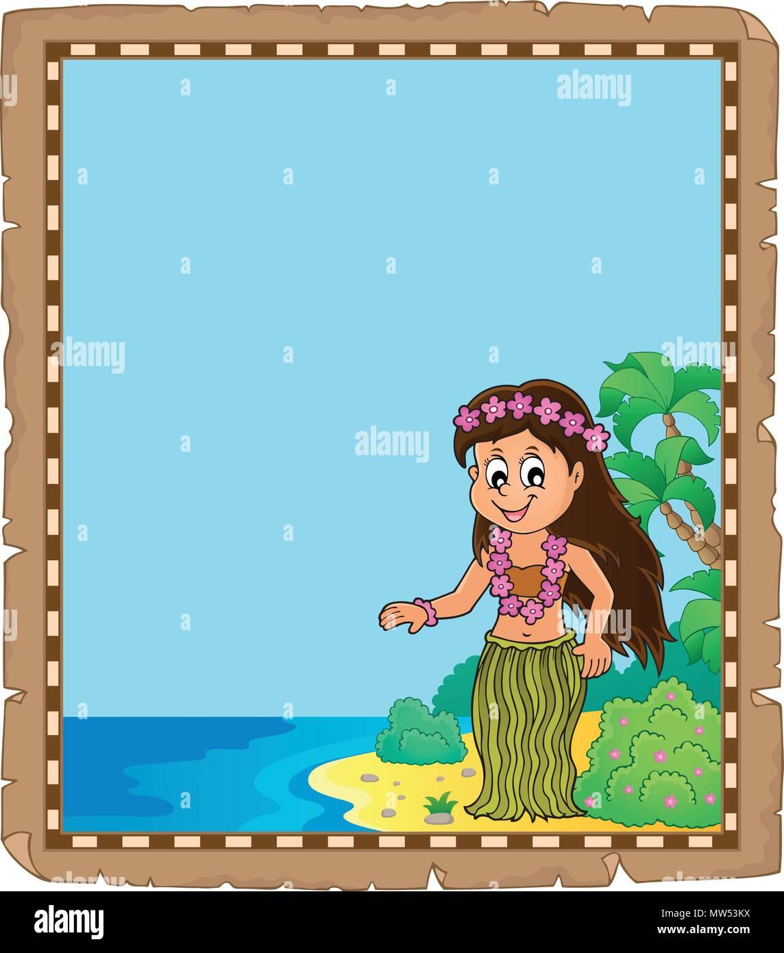 Parchment with Hawaiian theme dancer - eps10 vector illustration. - Stock Vector