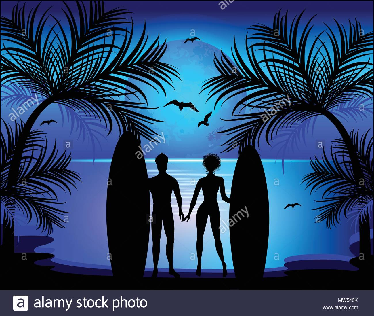 Silhouette of man and woman on the background of a tropical land - Stock Vector