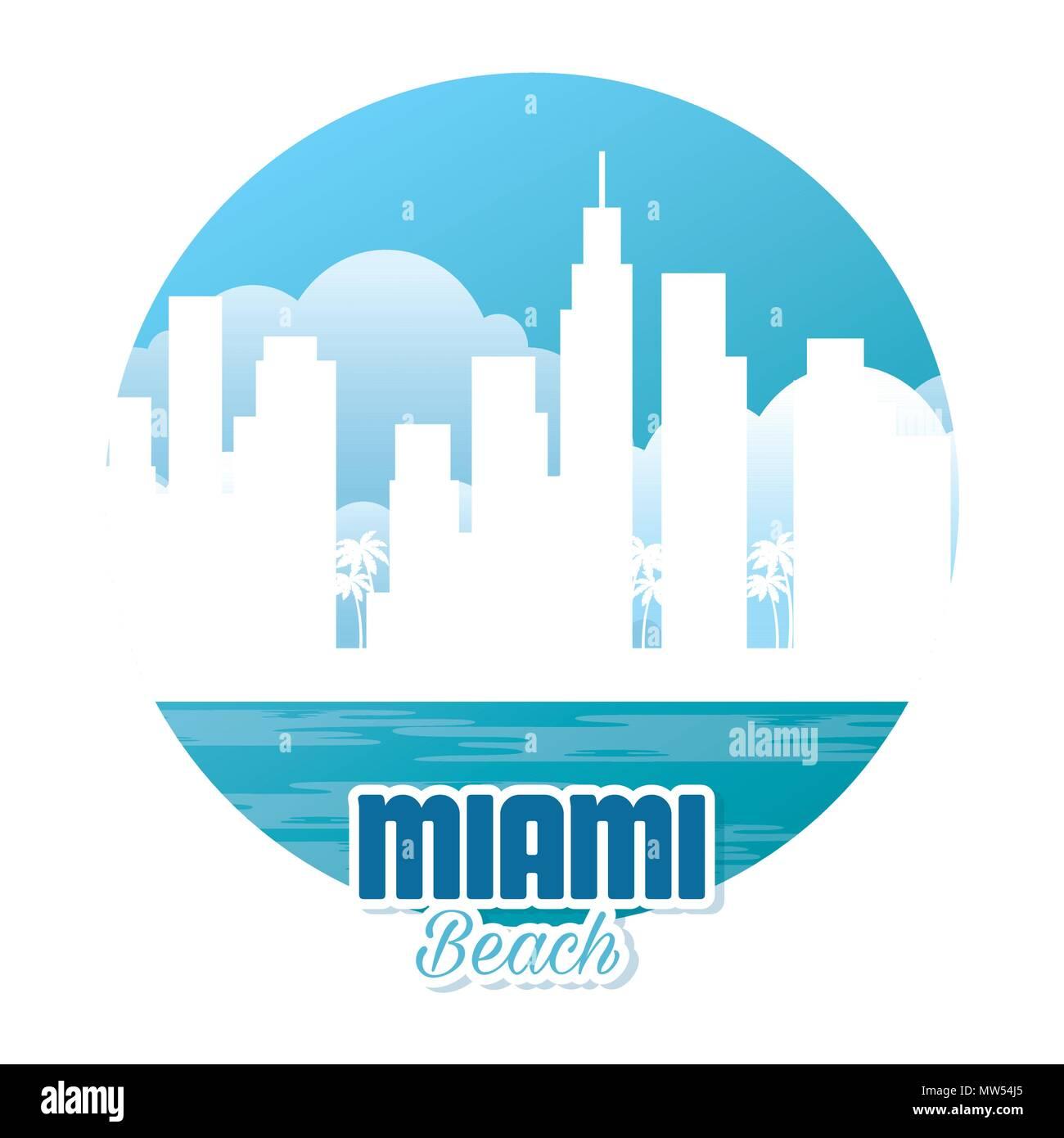 miami beach cityscape scene - Stock Image