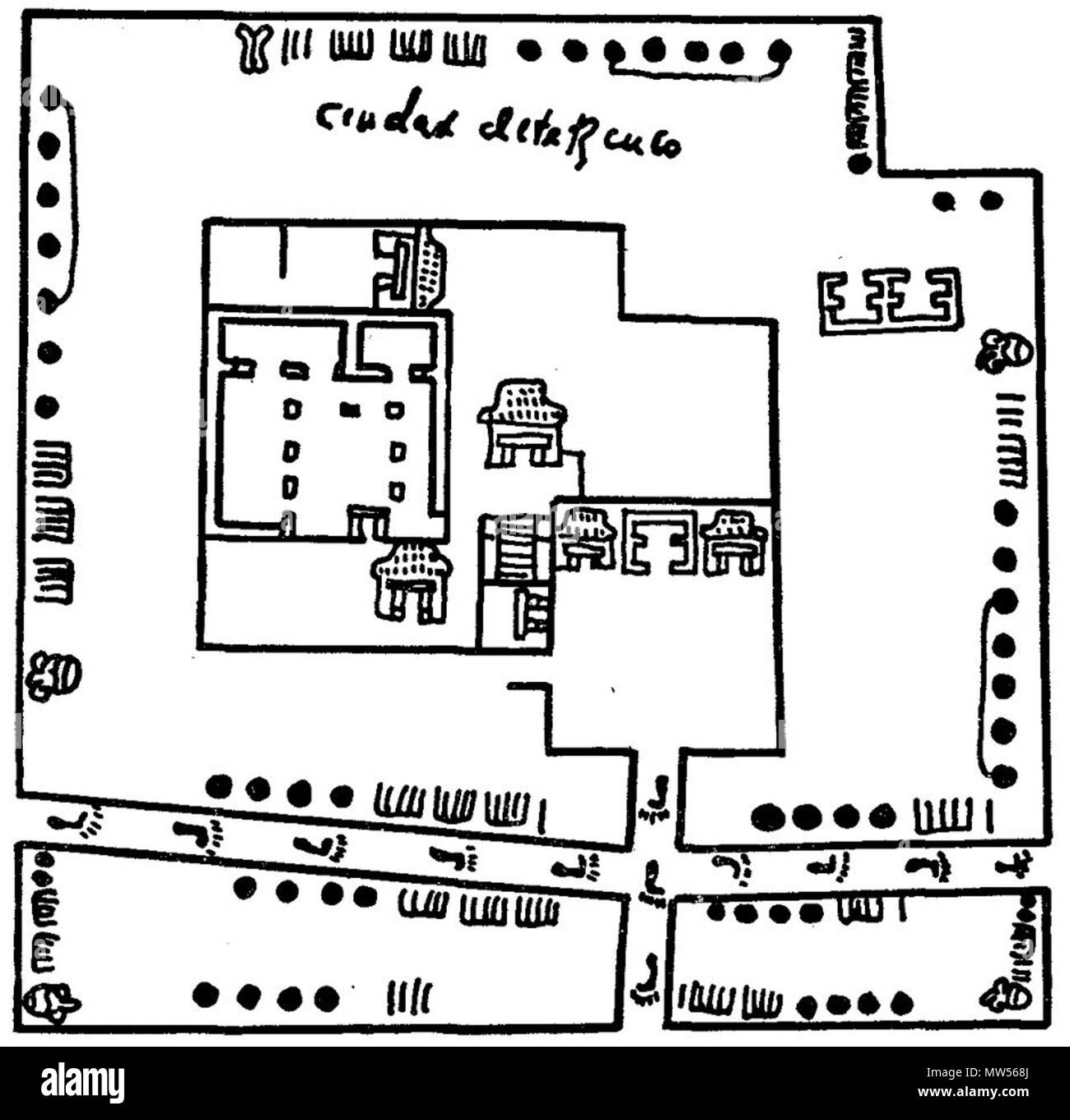 . English: Depiction of Texcoco city showing its dimensions by the Aztec Metric System detail in the Codex Humboldt Fragment VI . between 1500 and 1600. Unknown 591 Texcoco Aztec Metric System Codex Humboldt black and white detail Fragment VI - Stock Image