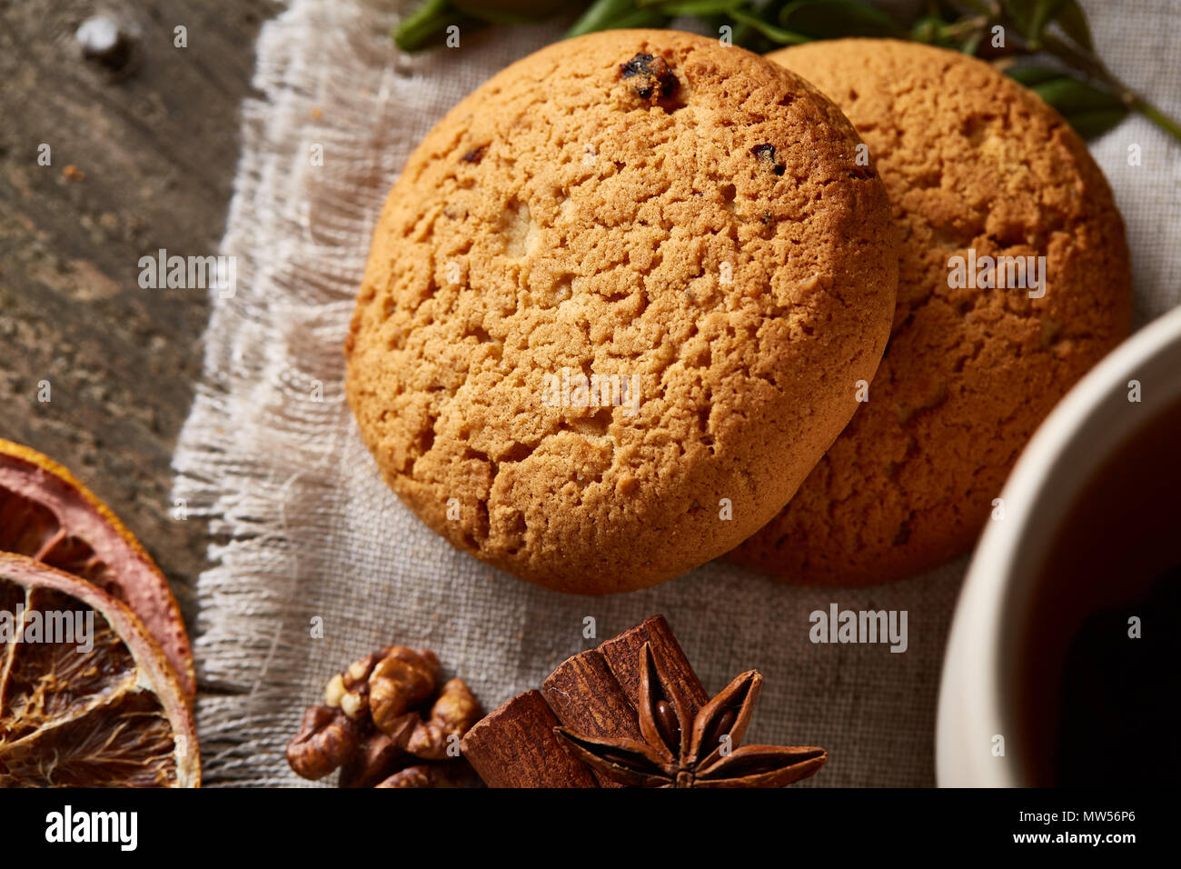 Traditional Christmas Tea Concept With A Large Set Of Cookies On A