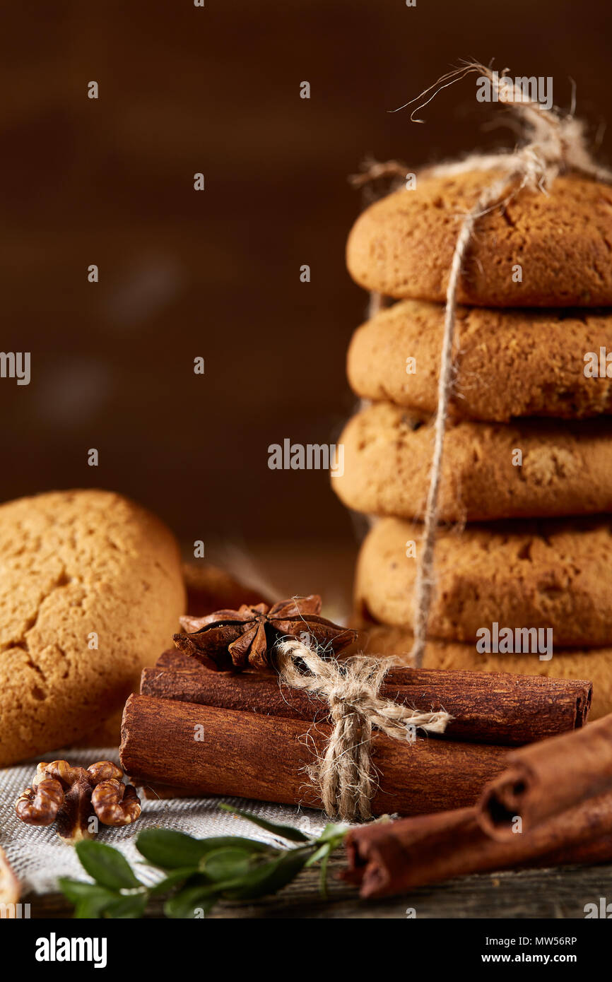 Christmas Composition With Pile Of Cookies Stucked With Ribbon