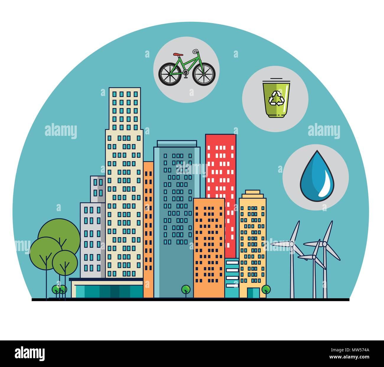 buildings ecology green city scene - Stock Image