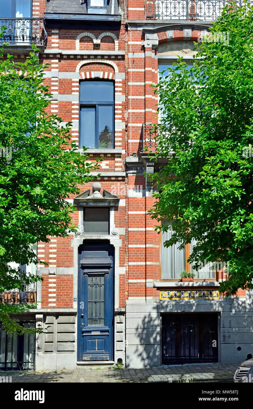 Brussels, Belgium. Avenue Michel-Ange 58-50 (1897: Flemish Neo-Renaissance) - Stock Image