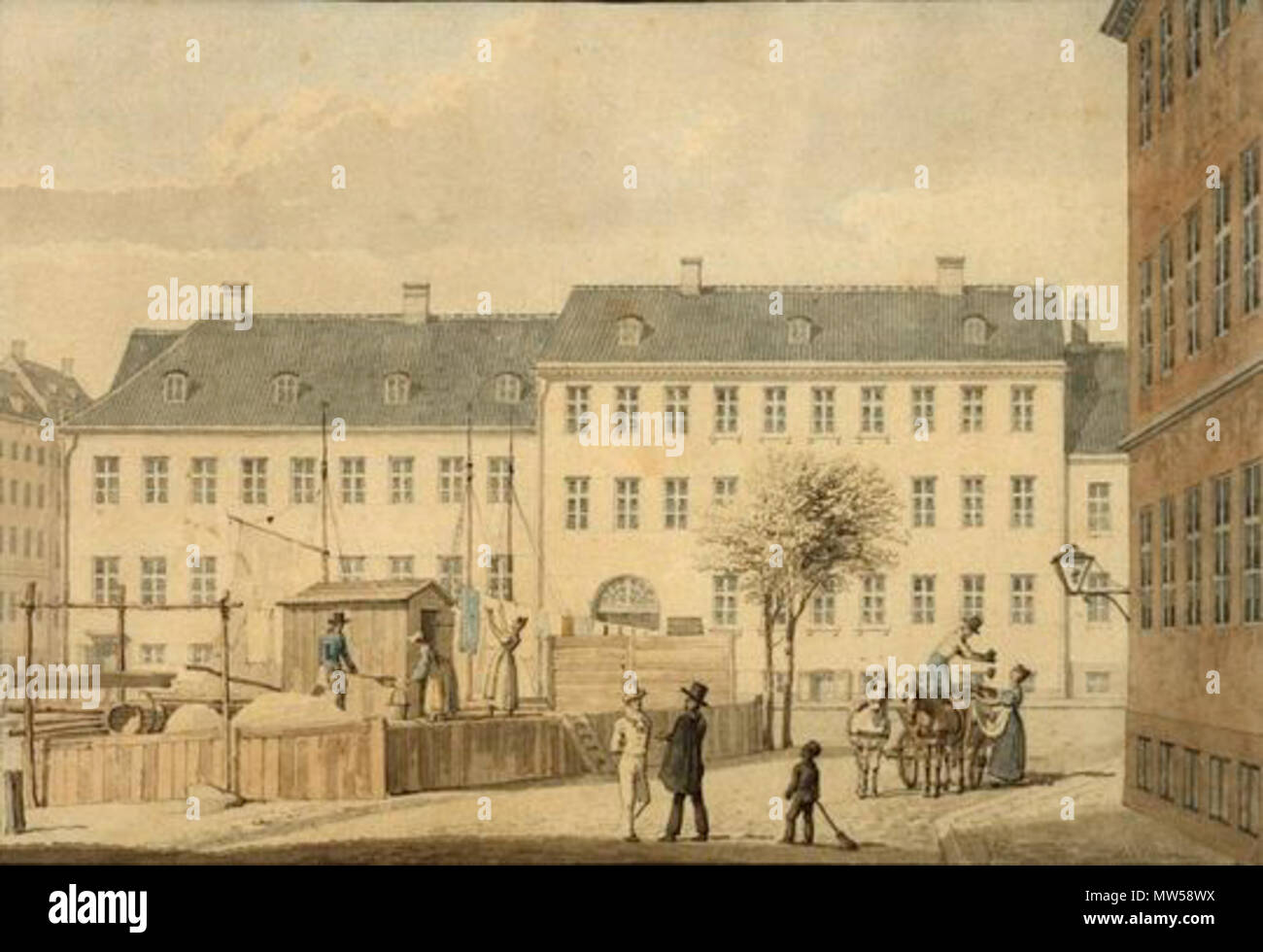 . Sandkiste (sand deposit?) - at Frederiksholms Kanal in Copenhagen, Denmark . 1835. G. F. Holm 262 H. G. F. Holm - Frederiksholms Kanal, 1835 - Stock Image