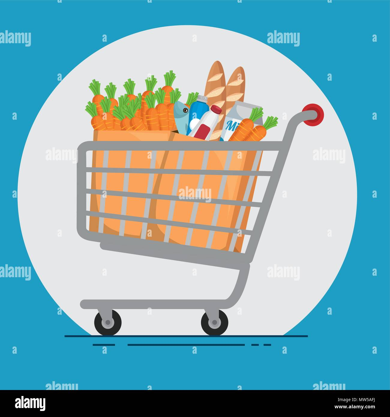 supermarket products in shopping cart - Stock Image