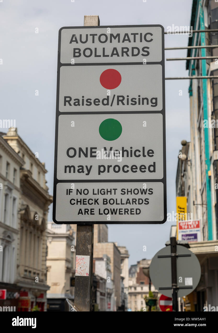 A street sign warning drivers of automatic bollards in Bold Street Liverpool May 2018 - Stock Image