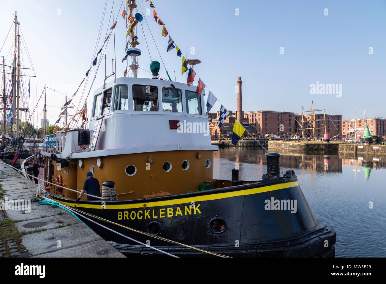 The tug boat Brocklebank moored in Canning Dock for the Liverpool Tall Ships Festival May 2018 - Stock Image