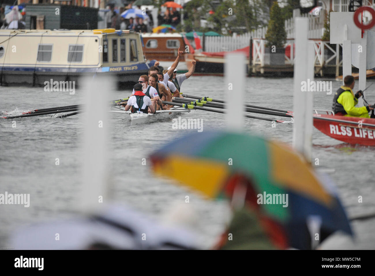 Henley, GREAT BRITAIN, Grand Challenge Cup, Bow,  Victoria City Rowing Club and Kingston Rowing Club, Canada, celebrate winning, 2008 Henley Royal Reg - Stock Image