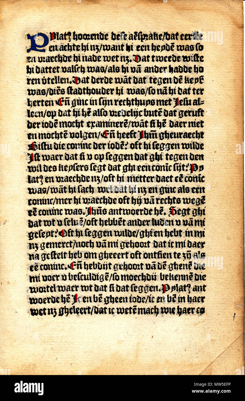 . English: Leaf from Fasciculus mirre, Bollaert, Delft, circa 1500. circa 1500. Printed by Roelant Bollaert in Delft, 1500. 364 Leaf from Fasciculus mirre - Stock Image
