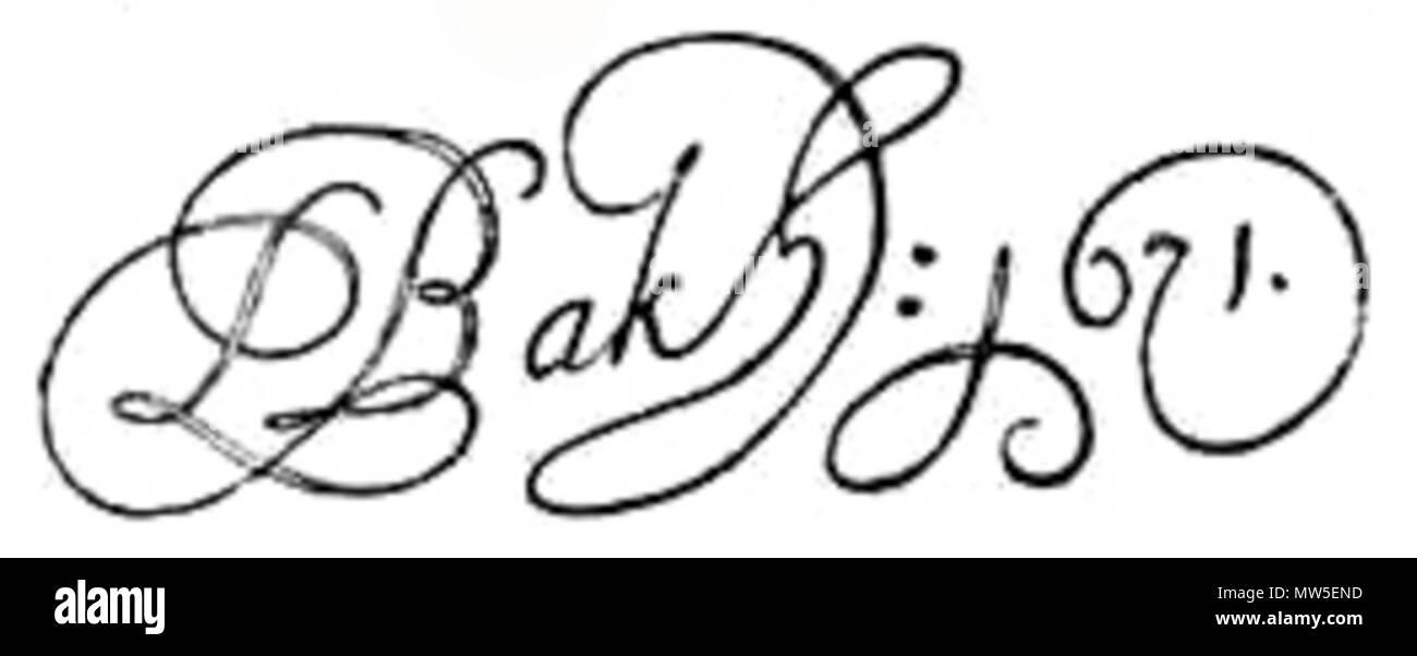 .  Nederlands: Signatuur Ludolf Bakhuizen . 1671.    Ludolf Bakhuizen (1630–1708)   Alternative names Ludolf Backhuijzen, Ludolf Backhuizen, Ludolph Backhuyzen, Ludolph Backhuysen, Ludolf Bakhuysen  Description Dutch painter, draughtsman, printmaker and miniaturist  Date of birth/death 28 December 1631 7 November 1708 or 8 November 1708  Location of birth/death Emden Amsterdam  Work period 1649–1707  Work location Amsterdam (1649-May 1662), Hoorn (May 1662-May 1663), Amsterdam (May 1663-November 1708)  Authority control  : Q468214 VIAF:40185031 ISNI:0000 0001 2024 4043 ULAN:500004095 LCC - Stock Image
