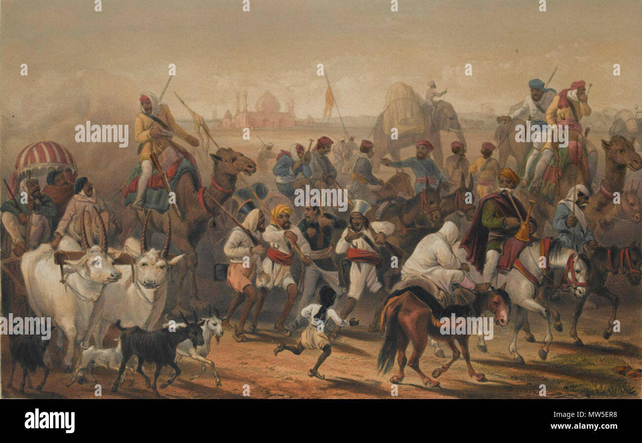 . English: Troops of the Native Allies', 1857-1858 (c). Coloured lithograph from 'The Campaign in India 1857-58', a series of 26 coloured lithographs by William Simpson, E Walker and others, after G F Atkinson, published by Day and Son, 1857-1858. Although the Bengal Army rebelled during the Indian Mutiny (1857-1859), the East India Company's Madras and Bombay Armies were relatively unaffected and other regiments, including Sikhs, Punjabi Moslems and Gurkhas, remained loyal, partly due to their fear of a return to Mughal rule. They also had little in common with the Hindu sepoys of the Bengal  - Stock Image