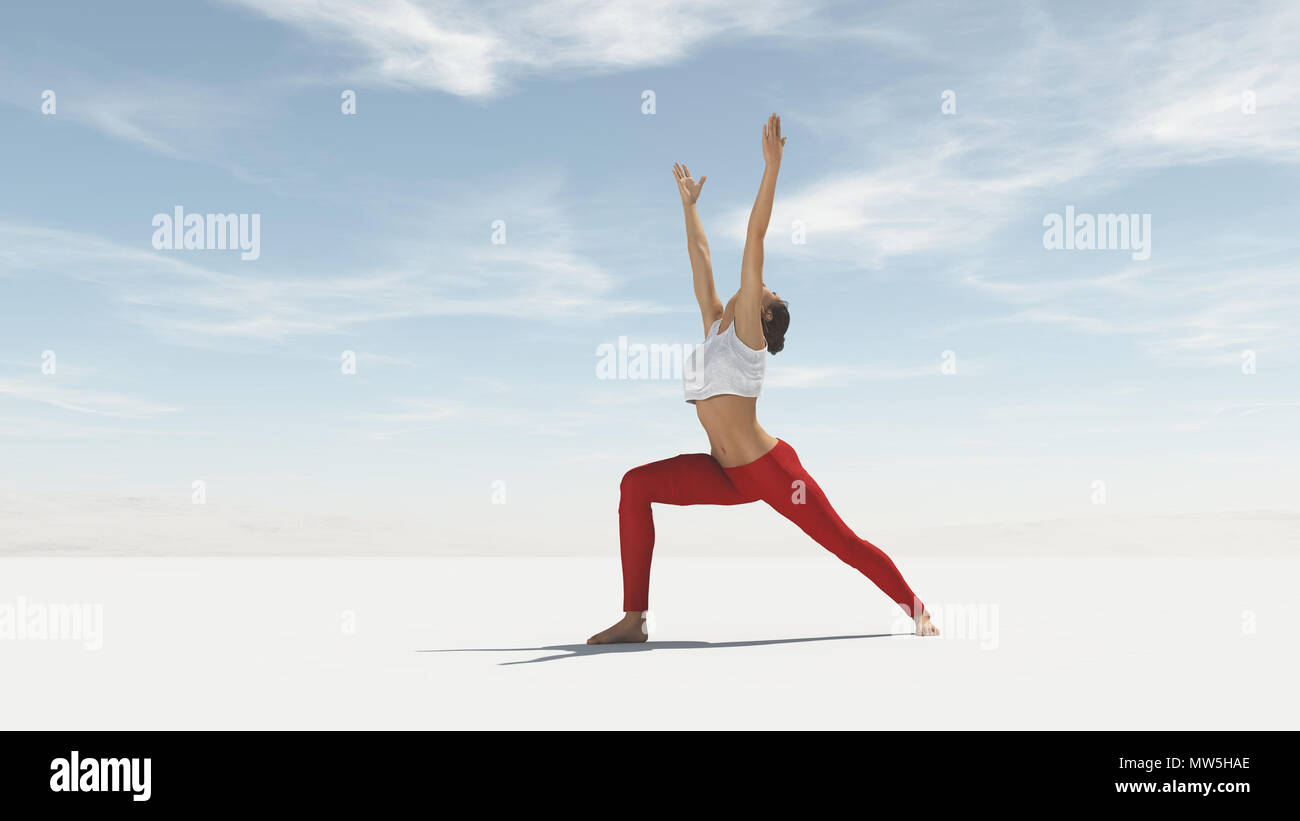 Young woman doing yoga outdoor. This is a 3d render illustration Stock Photo
