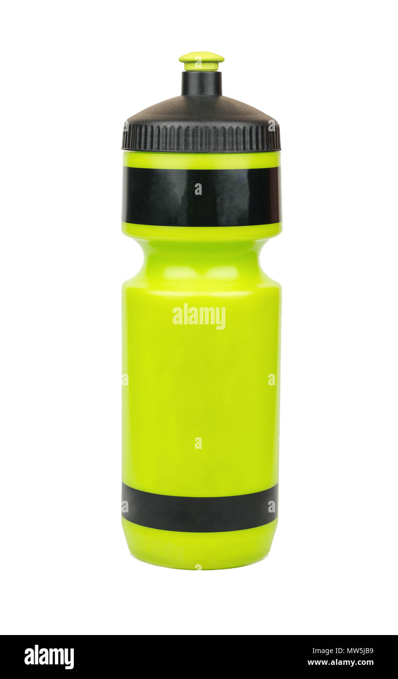 Green sport water bottle isolated on white background - Stock Image