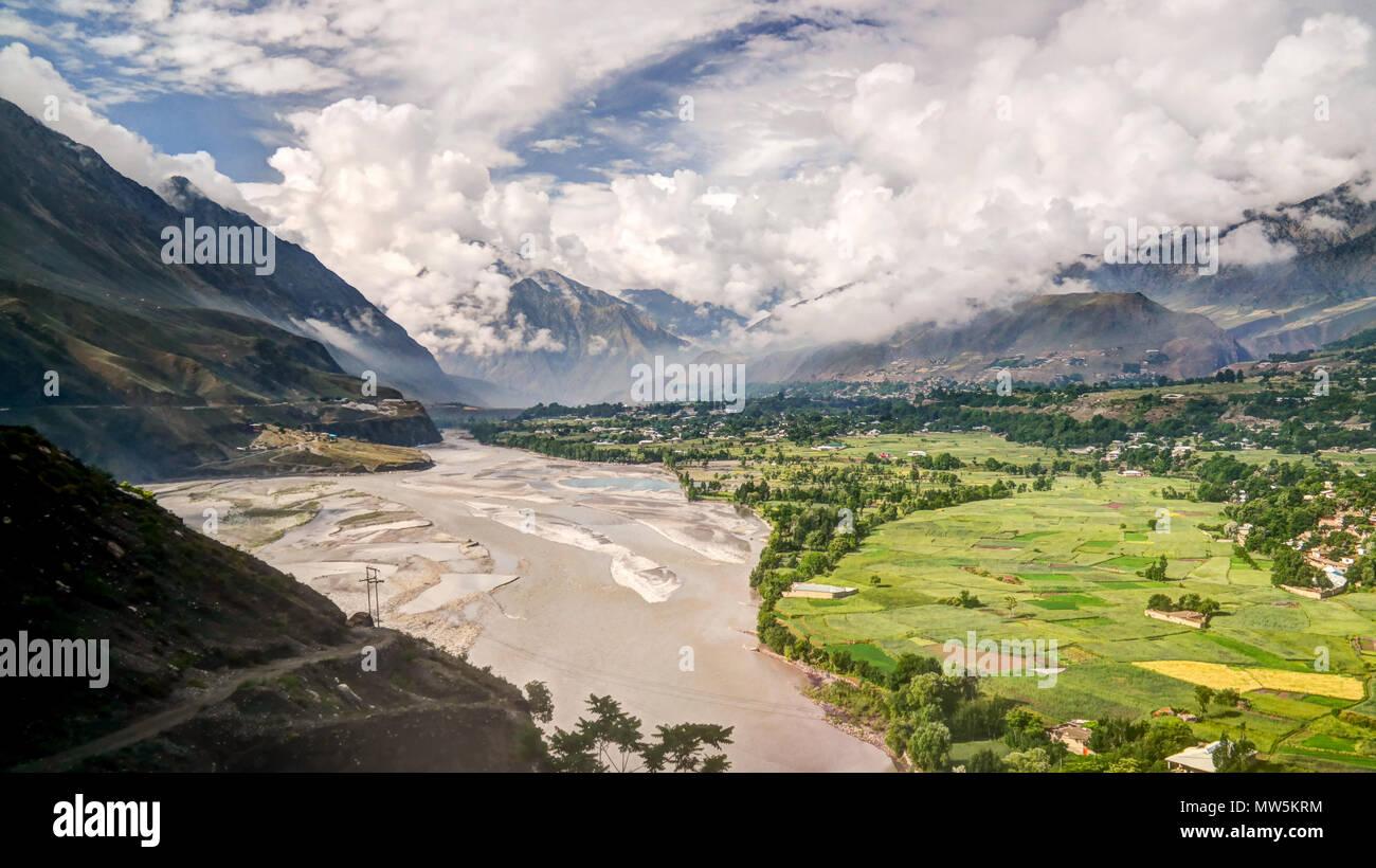 Kunar aka Chitral or Kama river, Khyber Pakhtunkhwa province, Pakistan - Stock Image