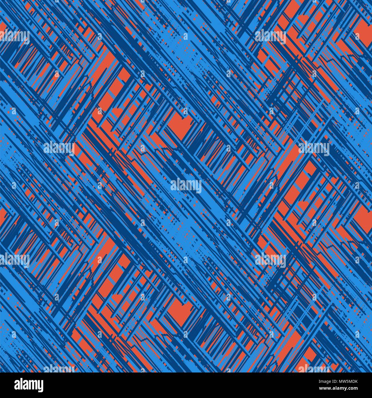 Vector grunge scribble strokes seamless pattern. - Stock Image