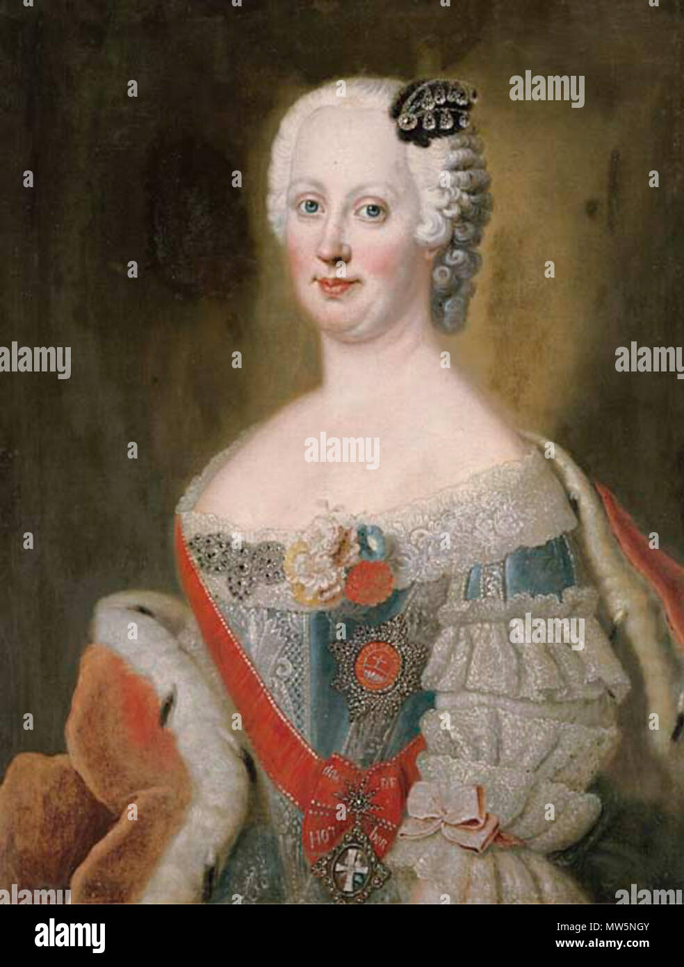 . Portrait of noblewoman, traditionally identified as Catherine the Great (l762-1796), Empress of Russia, bust-length, in a blue silk dress with lace trim and an ermine-lined cloak oil on canvas 32 x 24½ in. (81.3 x 61.6 cm.) PROPERTY FROM THE ESTATE OF BARONESS AIDA NORA VON DEM BUSSCHE-STREITHORST We are grateful to Sir John Guinness for pointing out that the sitter is in fact Johanna Elizabeth, Princess of Holstein-Gottorp (1712-1760), wife of Prince Christian August, Prince of Anhalt-Zerbst (1690-1727) and mother of the Tsarina Catherine the Great, wearing the Order of Saint Catherine. The Stock Photo
