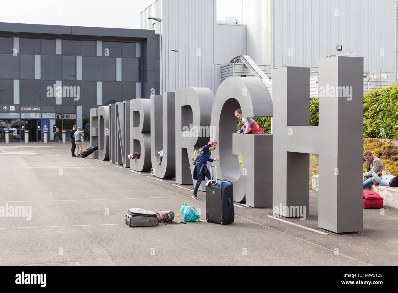 Large Edinburgh lettering sign outside Edinburgh airport, Scotland, UK Stock Photo