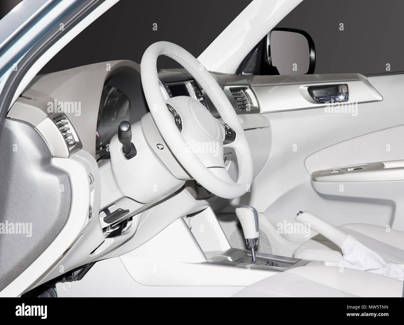 Inside Look At A White Leather New Car Interior Very Clean Sleek Lines And Elegant Design Stock Photo Alamy