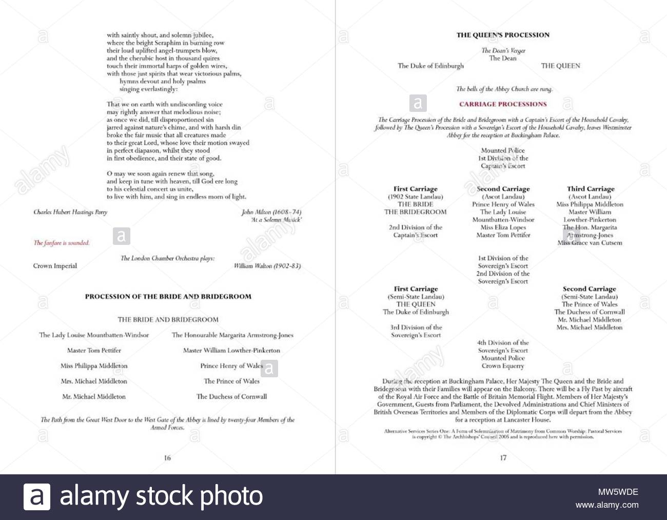 official order of service for the wedding of hrh prince william and
