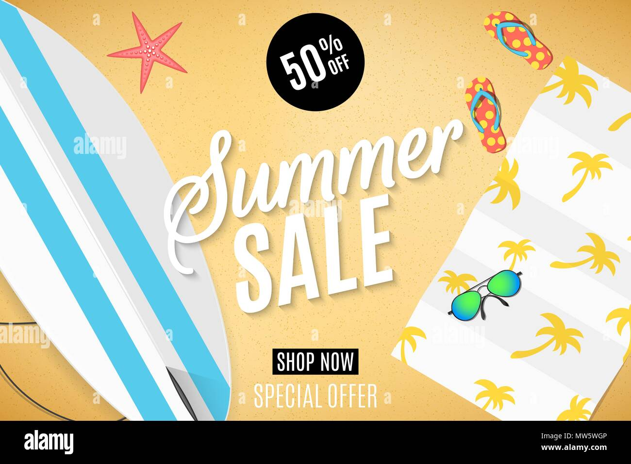856d42bd4065 Summer sale banner for web. Surfboard on the beach