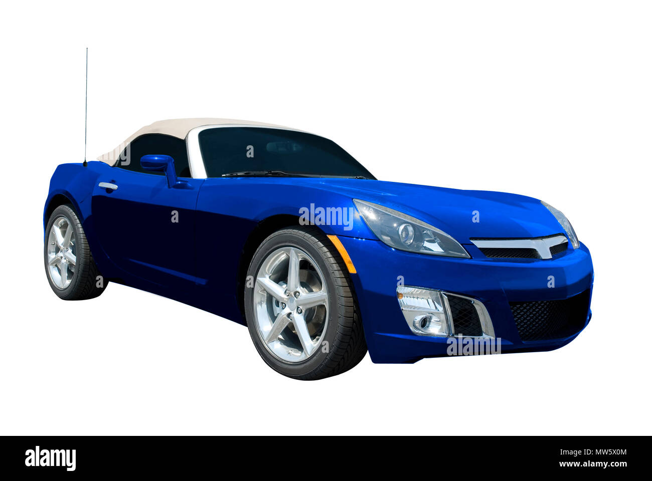 Blue convertible sports car roadster  isolated on a white background.  Look in my gallery for more car photos like this. - Stock Image