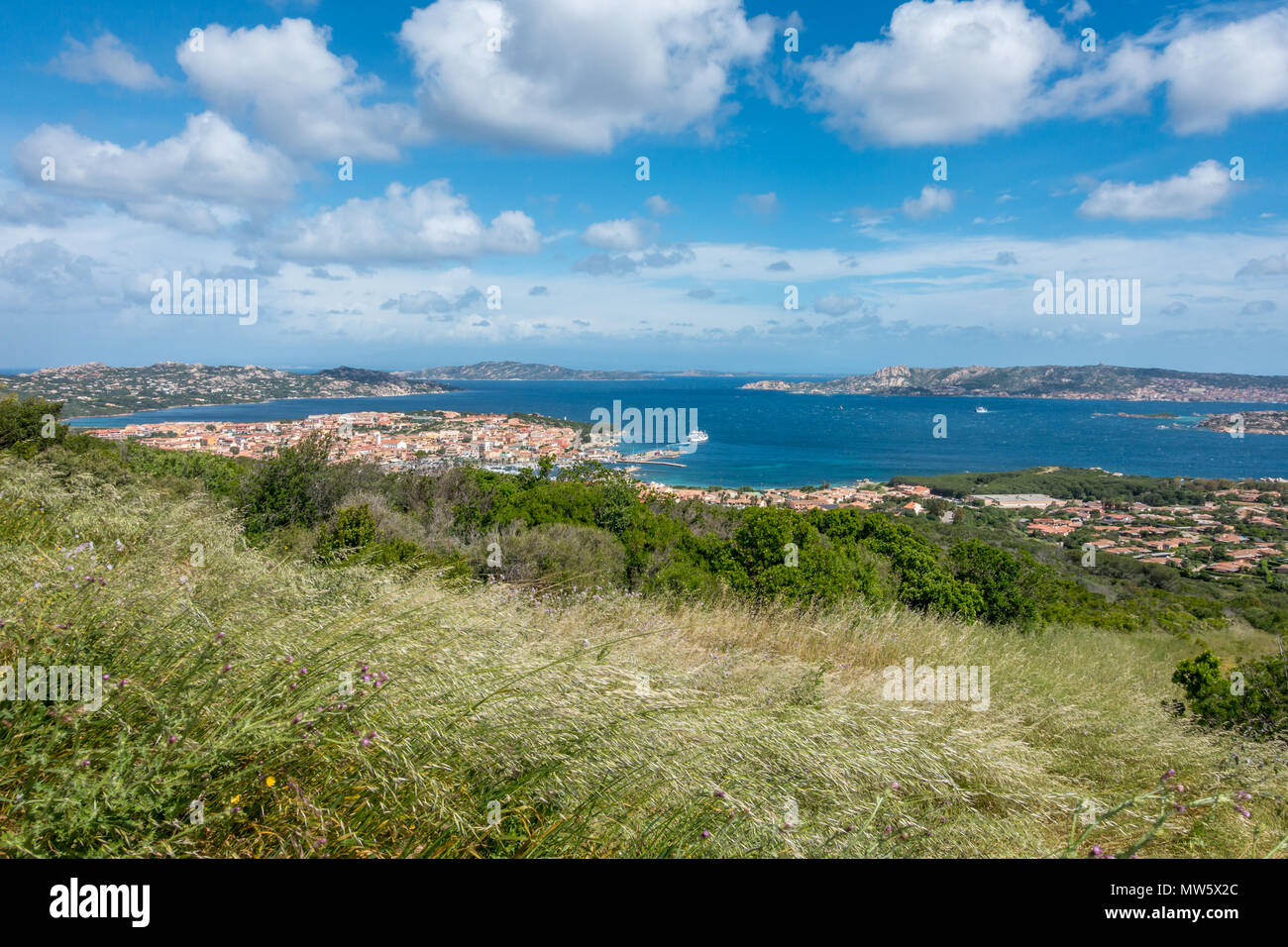 Views down to Palau and across the sea to La Maddalena on a beautiful but windy day, Sardinia, Italy - Stock Image