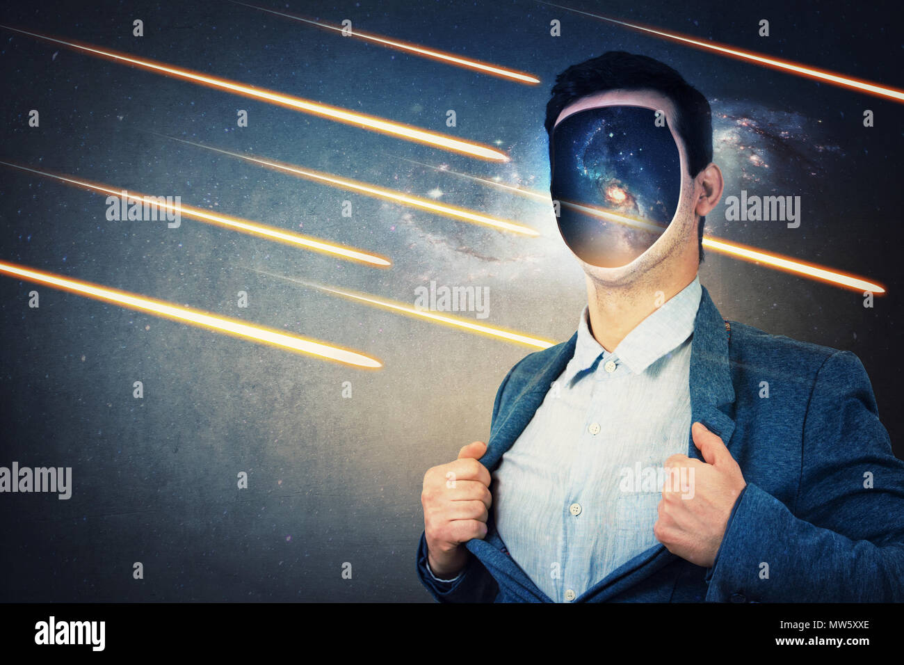 Young man with cosmos instead his face, tearing off his jacket. Space galaxy inside human head. Fantasy futuristic background with falling comets and  - Stock Image