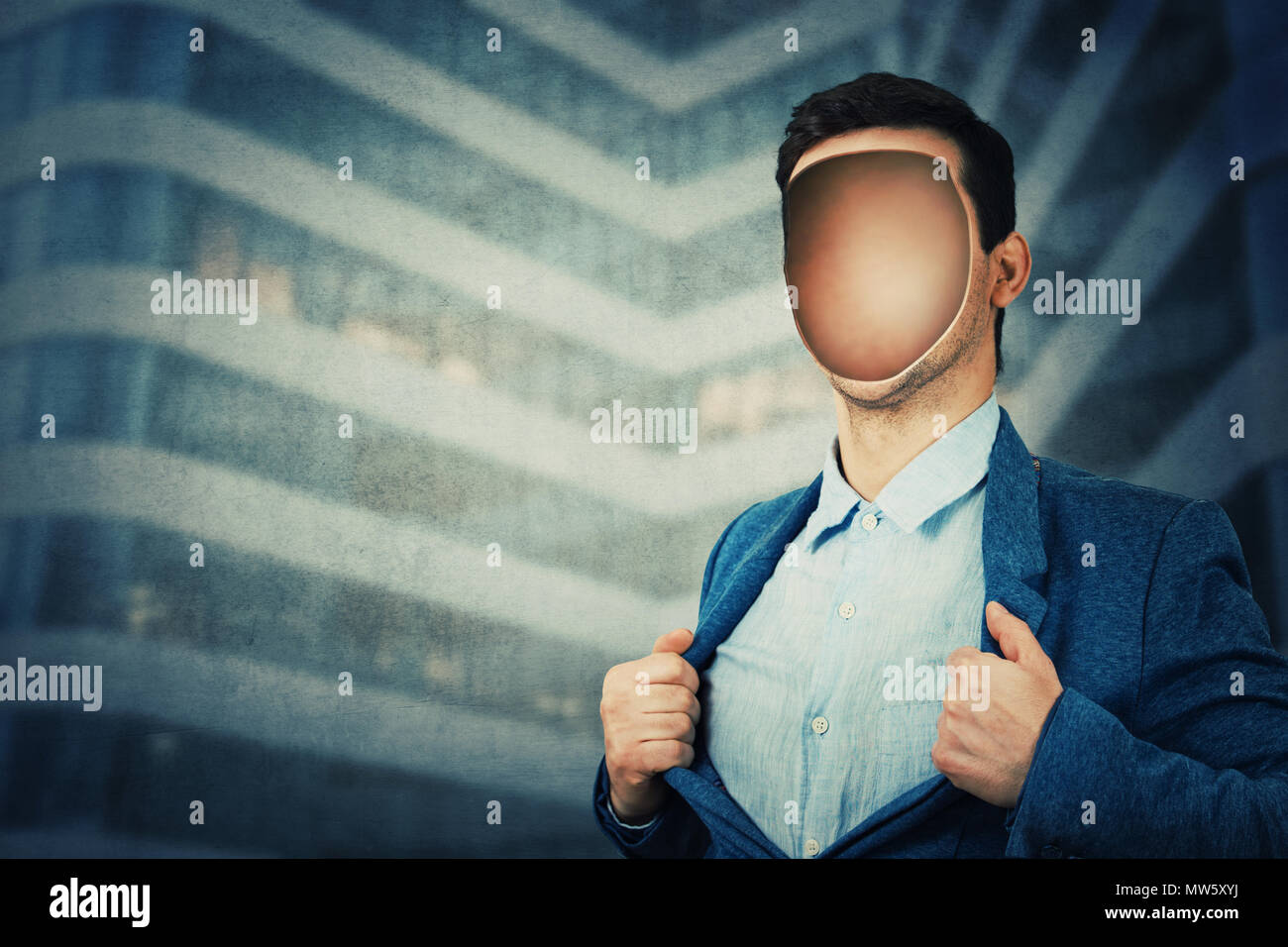 Faceless businessman with a empty hole in his head instead face. Vacuum inside human head. Fantasy futuristic background, incognito open minded man sy - Stock Image