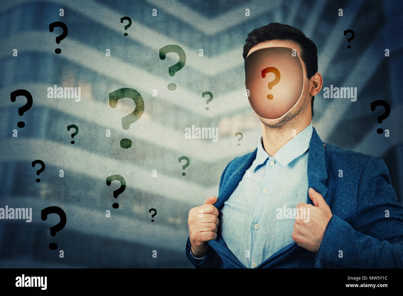 Anonymous businessman with a hole in his head instead face. Question mark inside human faceless head. Fantasy futuristic background, incognito open mi - Stock Image