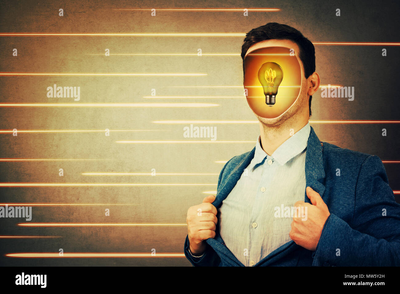 Anonymous businessman with a hole instead face and a light bulb inside head. Fantasy futuristic background human transform into robots. Technology dev - Stock Image