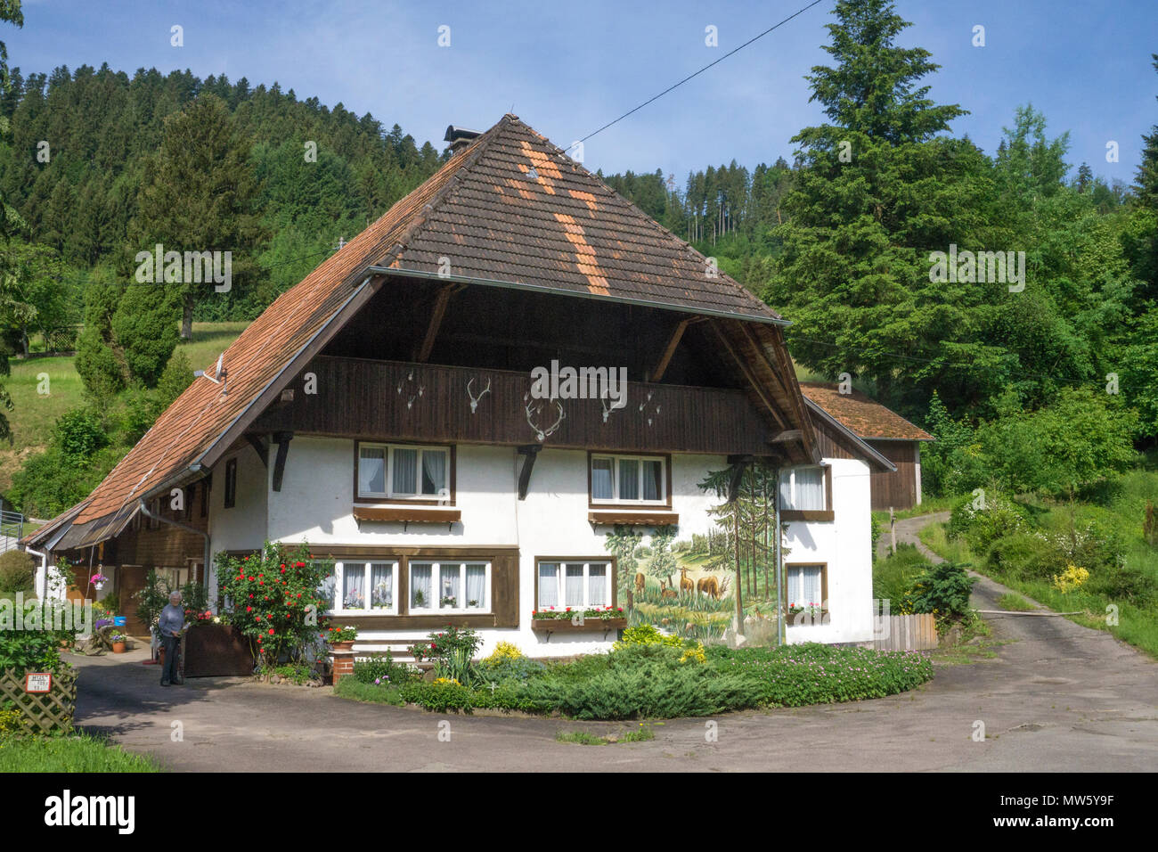 Typical Black forest house at Gutach village, Black Forest, Baden-Wuerttemberg, Germany, Europe - Stock Image