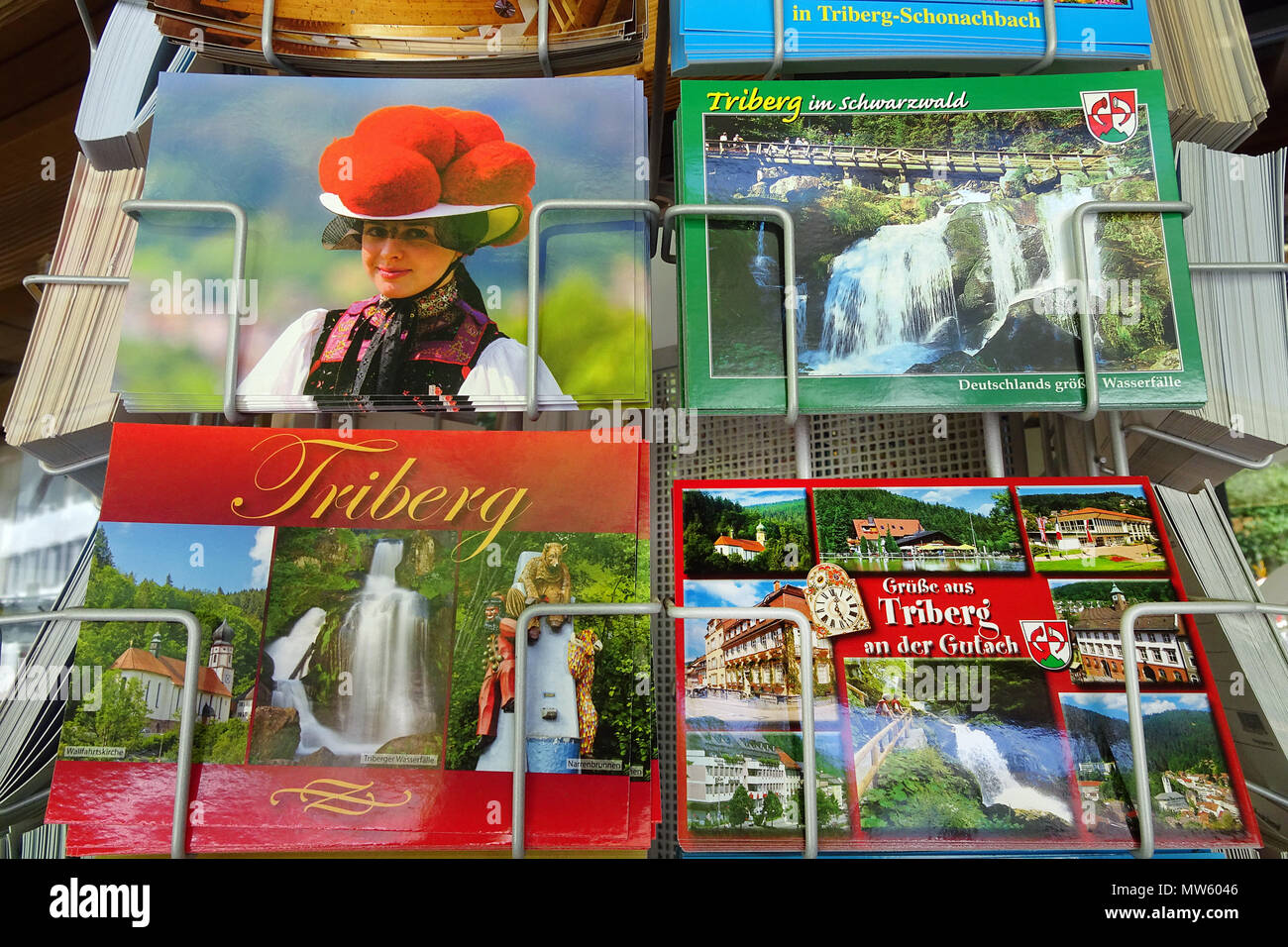 Picture postcards of Black forest at a souvenir shop, Triberg, Black Forest, Baden-Wuerttemberg, Germany, Europe Stock Photo