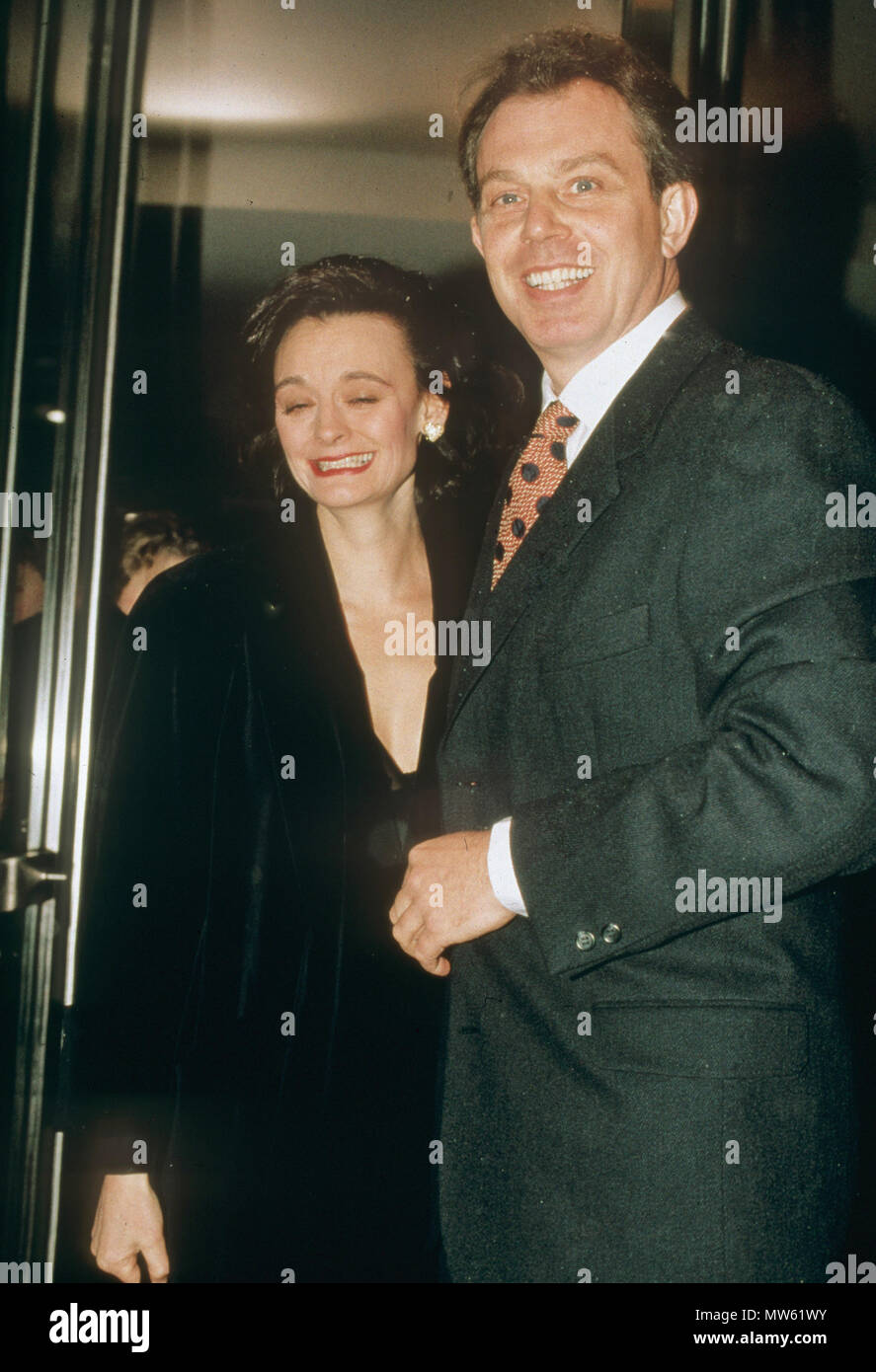 TONY BLAIR UK politician with his wife Cherie about 1995 - Stock Image