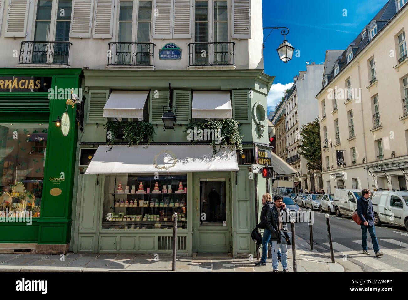Laduree on Rue Bonaparte  renowned for it's macarons ,Paris ,France - Stock Image