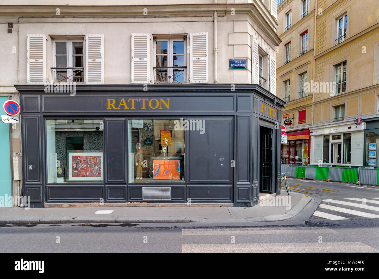 Galerie Ratton on Rue Bonaparte in the 6th arrondissement district of Paris,France - Stock Image