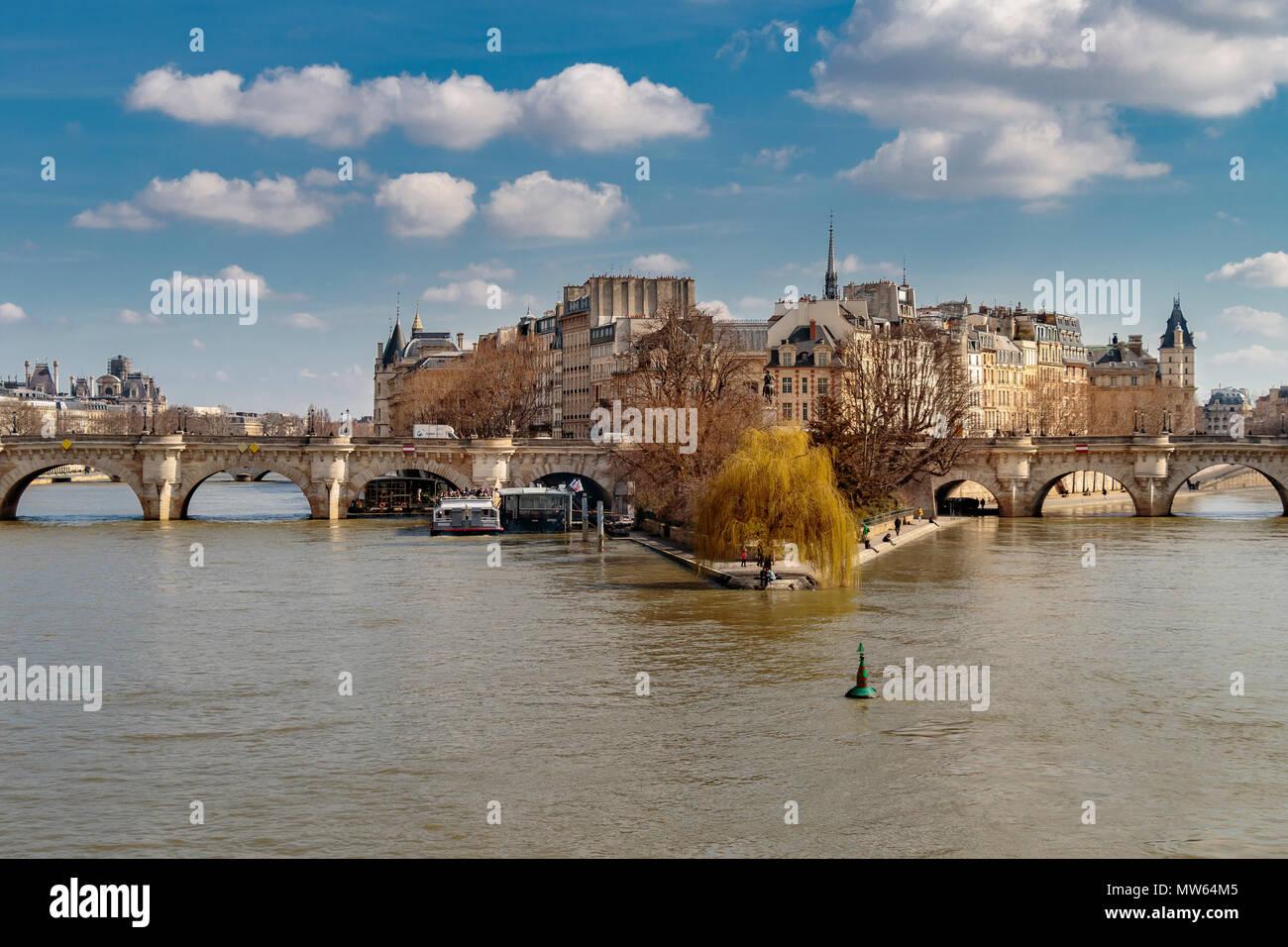 Pont Neuf Bridge and Ile de la Cite, from Pont des artsin ht elate afternoon winter sunshine  ,Paris, France, - Stock Image