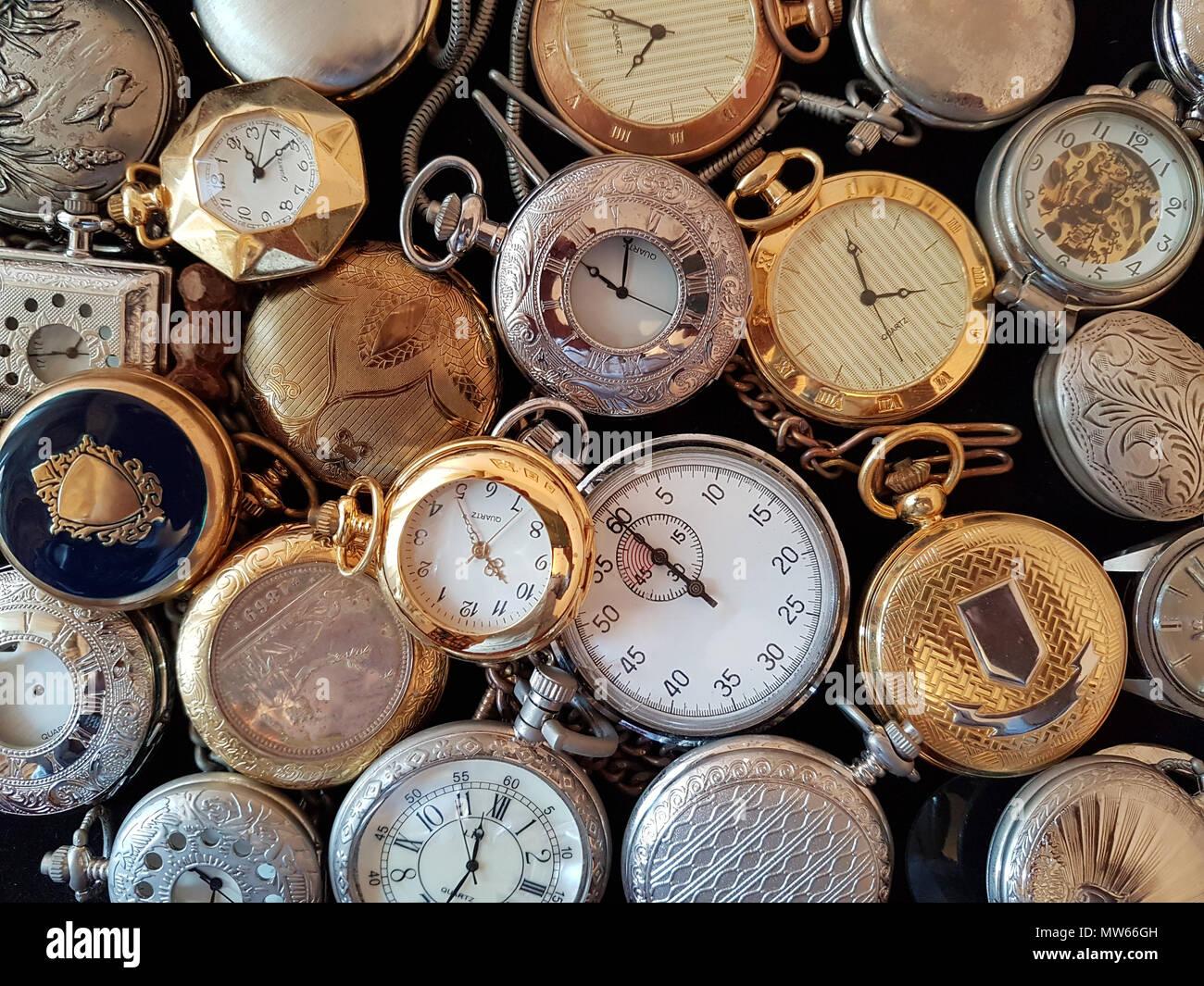 Many pocket watches - Stock Image