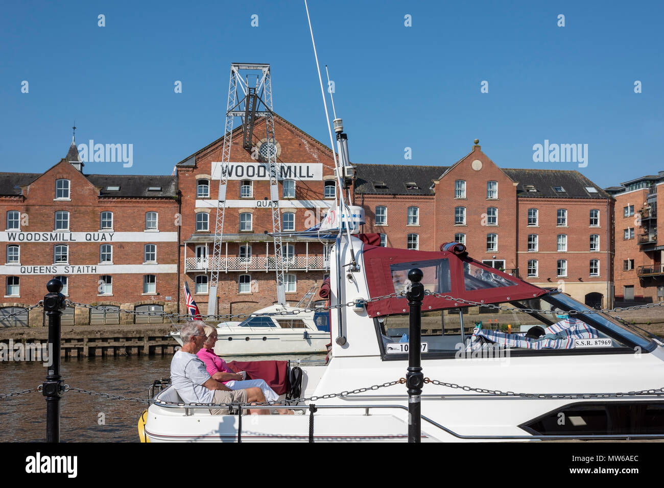 Relaxation on a cruising boat opposite Woods Mill, River Ouse, York, UK - Stock Image