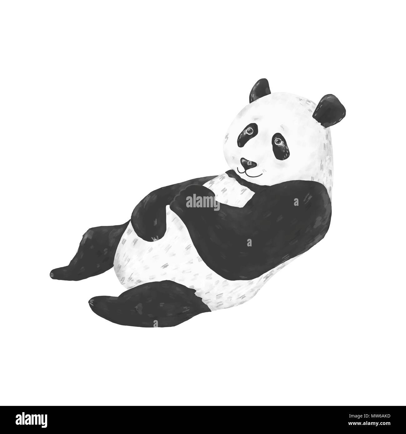 Panda Clip Art Drawing Animal Funny Character On White Bakcground Stock Photo Alamy
