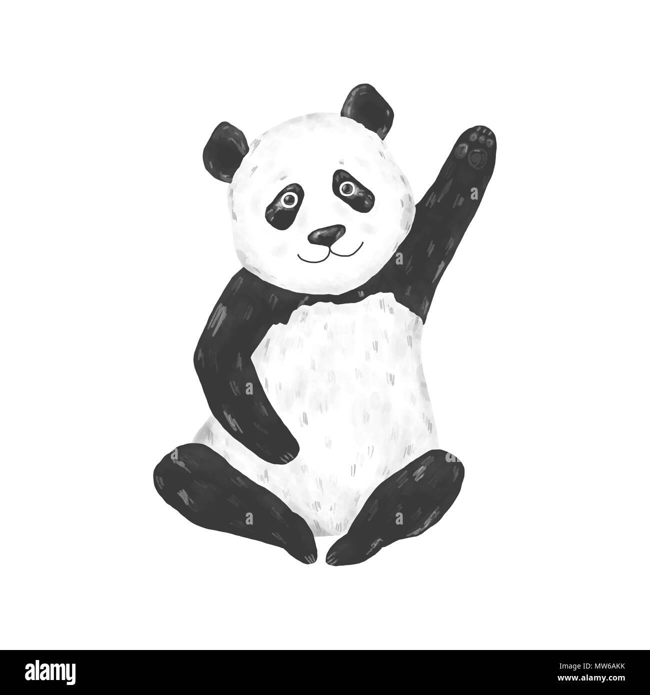 Panda Clip Art Drawing Animal Black Bear Character Funny Illustration On White Background Stock Photo Alamy