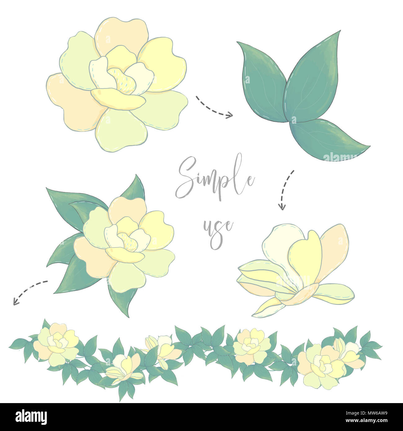 Design Flowers Yellow Flowers Clip Art Illustration Digital Drawing