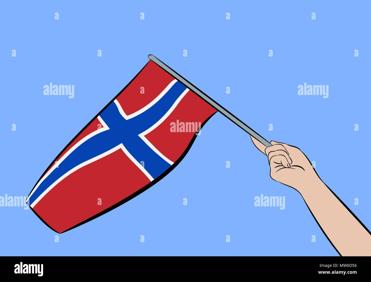 Female hand waving the flag of Norway on a blue sky, vector illustration - Stock Vector