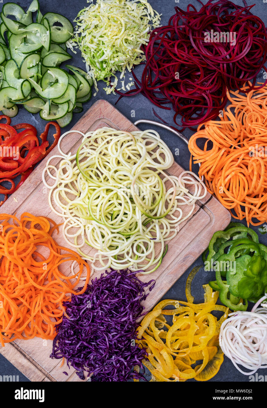 Spiralized Vegetables Pattern Stock Photo