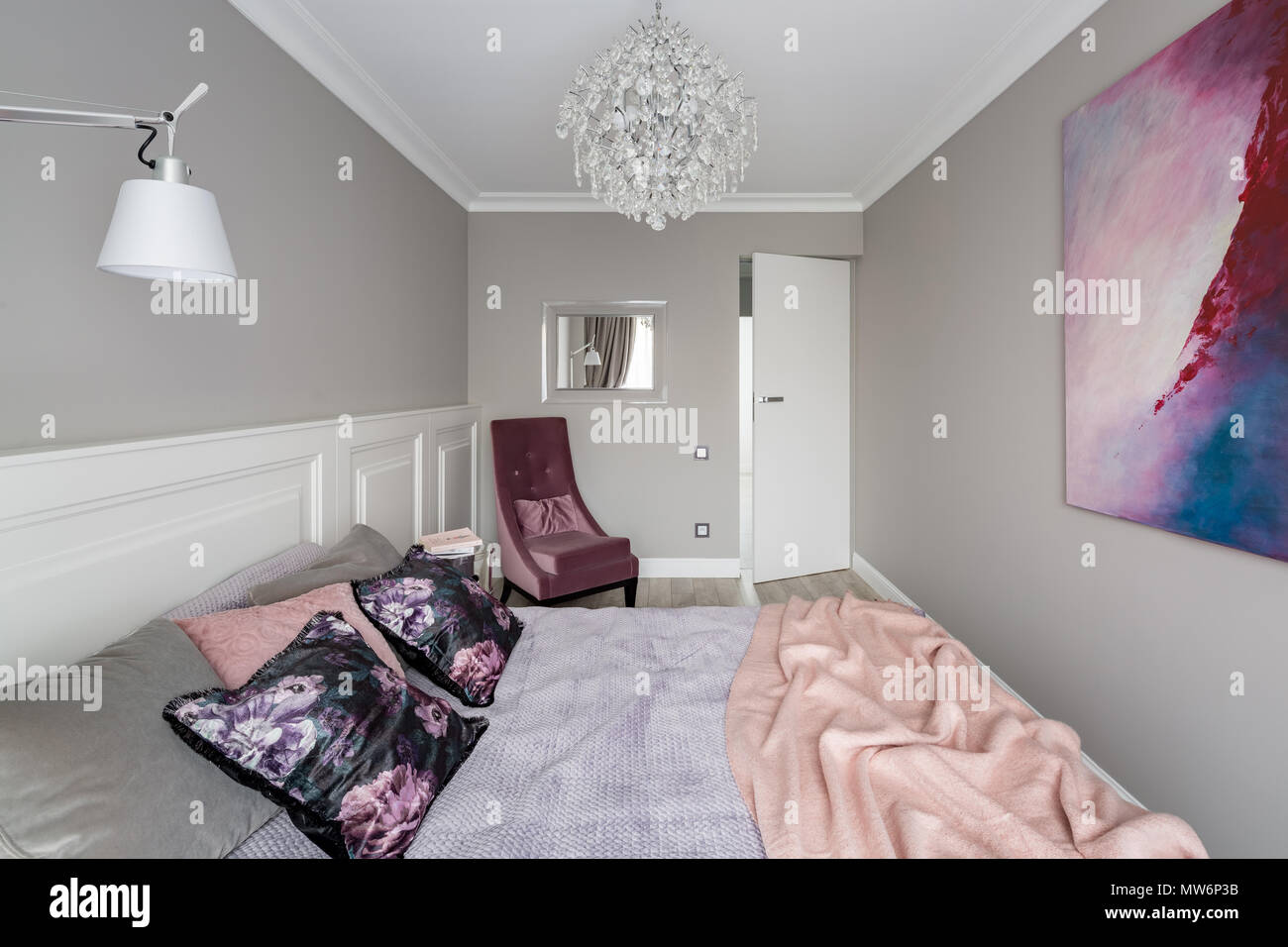 Lampadari In Camera Da Letto romantic bedroom with double bed, upholstered chair and